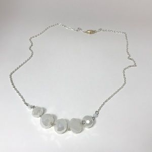 Handmade white beaded necklace